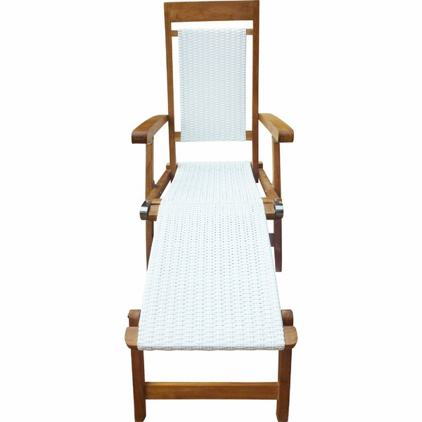 Jovie Steamer Reclining Teak Chaise Lounge by Highland Dunes Highland Dunes