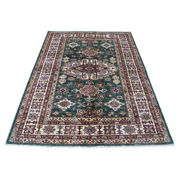 One-of-a-Kind Espada Super Geometric Oriental Hand-Knotted Teal Area Rug by Millwood Pines
