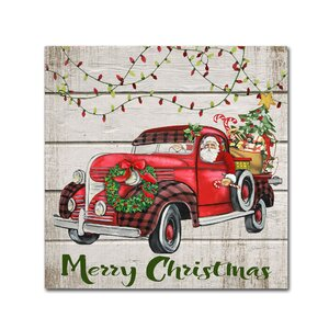 'Vintage Christmas Truck 3' Graphic Art Print on Wrapped Canvas by Trademark Fine Art