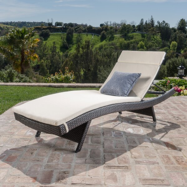 Ullman Adjustable Chaise Lounge with Beige Cushions by Highland Dunes Highland Dunes
