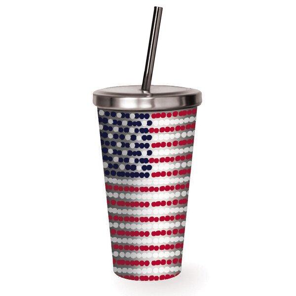 Demitri American Flag 16 oz. Stainless Steel Travel Tumbler by Latitude Run