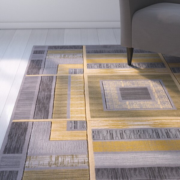 Dov Geometric Silver Area Rug by Ebern Designs