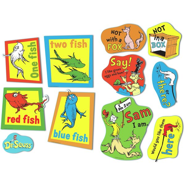 Large Dr Seuss Fish Fox and Sam Bulletin Board Cut Out by Eureka Classroom