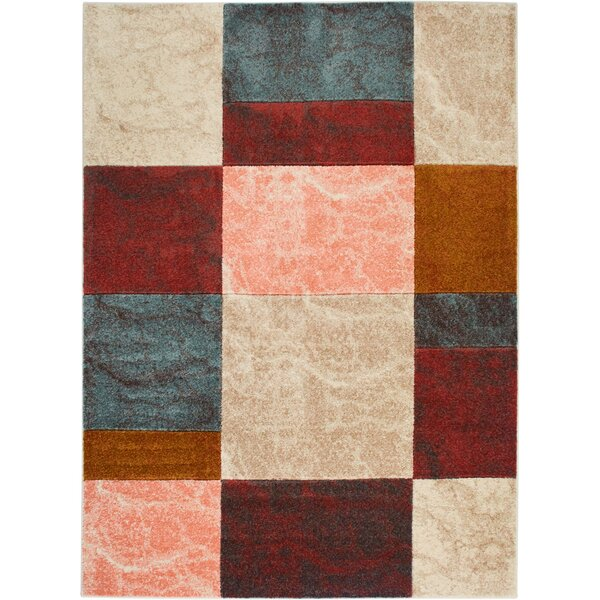 Dufresne Geometric Brown/Red Area Rug by Ebern Designs
