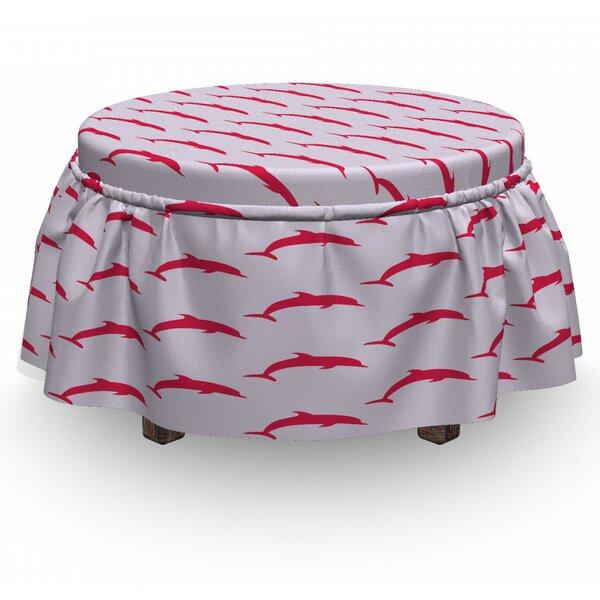 Dolphin Marine Aquatic Fauna 2 Piece Box Cushion Ottoman Slipcover Set By East Urban Home