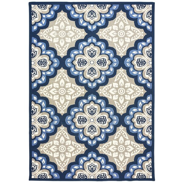 Restrepo Panel Gray/Blue Indoor/Outdoor Area Rug by Charlton Home