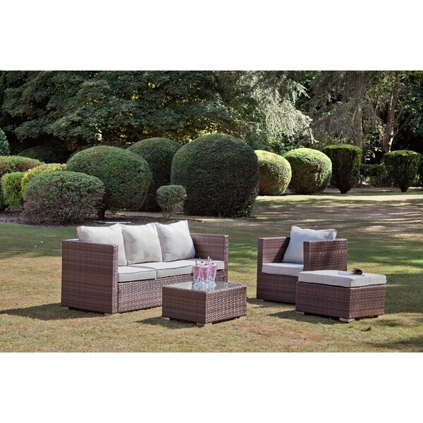 Lohman 4 Piece Rattan Sofa Seating Group with Cushions by Brayden Studio