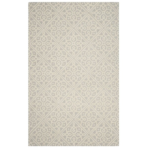 Mahoney Hand-Tufted Light Gray/Ivory Area Rug by Winston Porter