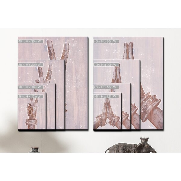 Peace and Namaste 2 Piece Graphic Art Print Set on Wrapped Canvas by Bungalow Rose