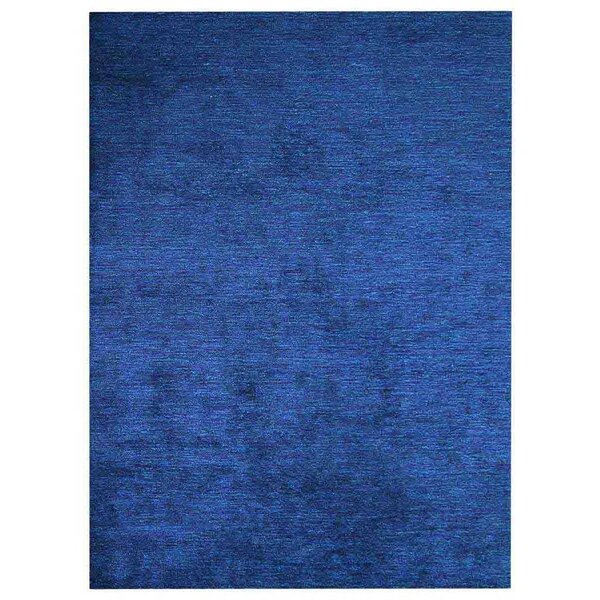 Linsey Gabbeh Hand-Knotted Silk Dark Blue Area Rug by Red Barrel Studio
