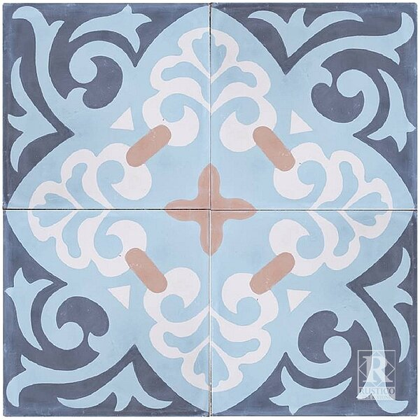 Espanola 8 x 8 Cement Field Tile in Blue (Set of 4) by Rustico Tile & Stone