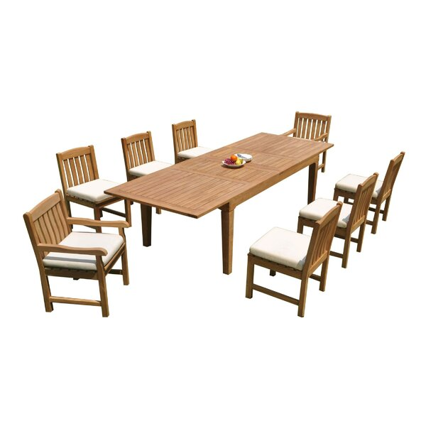 SantaCruz 9 Piece Teak Dining Set by Rosecliff Heights