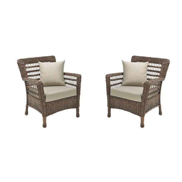 Boyles Patio Chair with Cushions (Set of 2) by Rosecliff Heights
