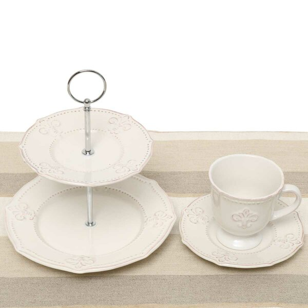 Fleur De Lis 5 Piece Tea Setting, Service for 2 by ZiaBella