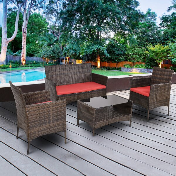 Standifer 4 Piece Rattan Sofa Set with Cushions by