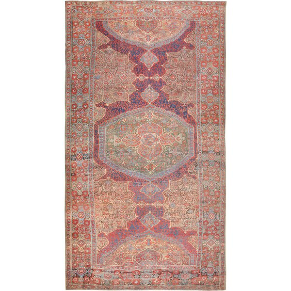 One-of-a-Kind 17th Century Hand-Knotted Before 1900 Blue 14' x 25' Wool Area Rug