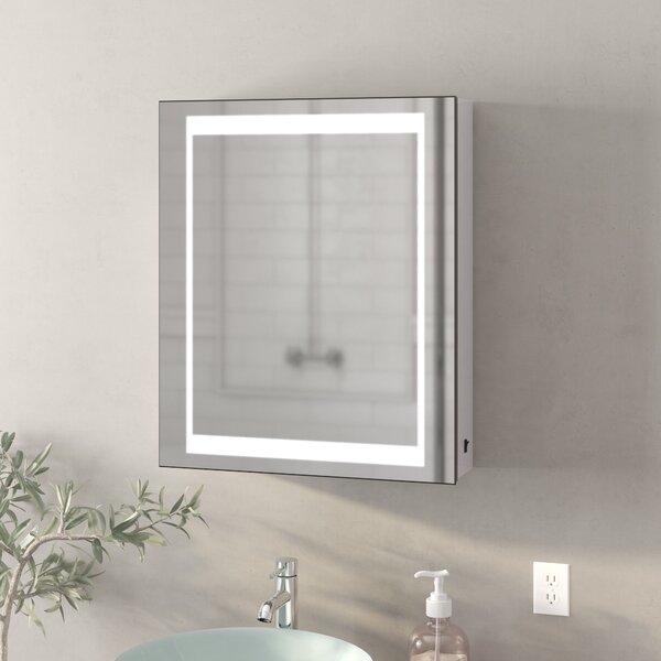 Cedar Grove Surface Mount Framed Medicine Cabinet with LED Lighting