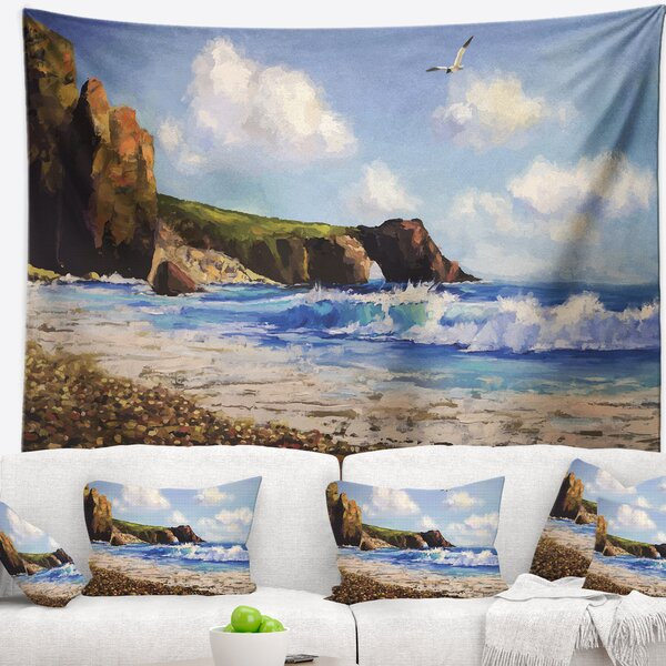 Landscape Sea with Seagull Tapestry by East Urban Home