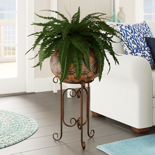 Artificial Fern Floor Plant in Planter by Beachcrest Home