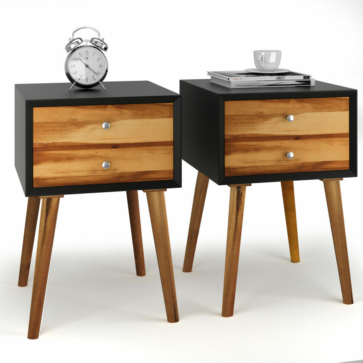 Furniture Mid Century Scandi Danish Design Solid Wood Bedside Table 1 Drawer Open Shelf Home Furniture Diy Cruzeirista Com Br