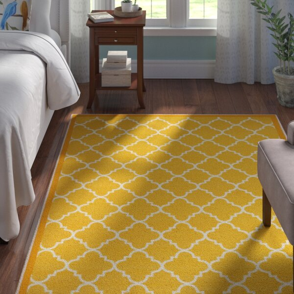 Hansa Trellis Lattice Gold Area Rug by Andover Mills