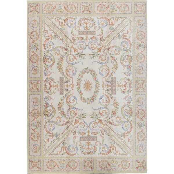 One-of-a-Kind Savonnerie Hand-Knotted Before 1900 Beige 10'1 x 14'1 Wool Area Rug