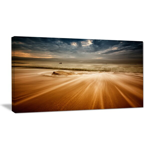 Stormy Sea with Waves Flowing Out Photographic Print on Wrapped Canvas by Design Art