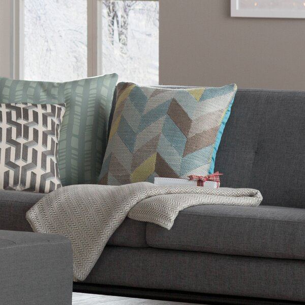 Vadera Herringbone Outdoor Throw Pillow by Langley Street
