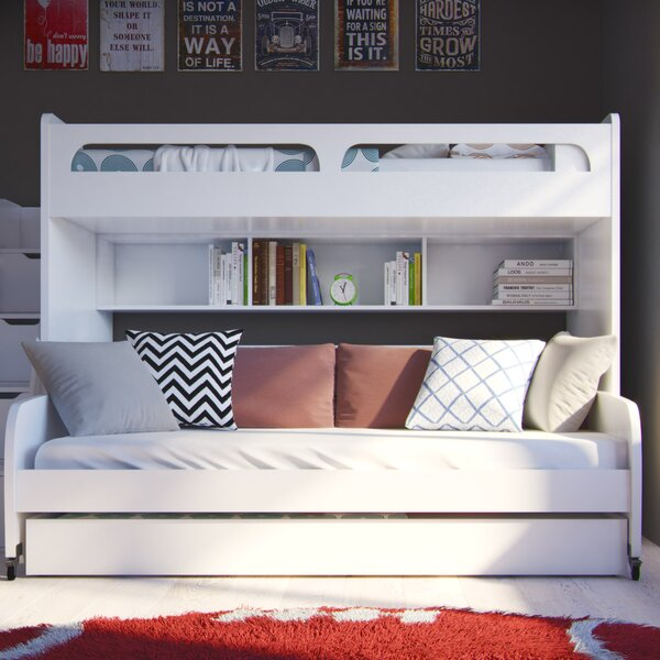 Gautreau Twin Over Twin L-Shaped Bunk Bed with Trundle and Drawers by Brayden Studio