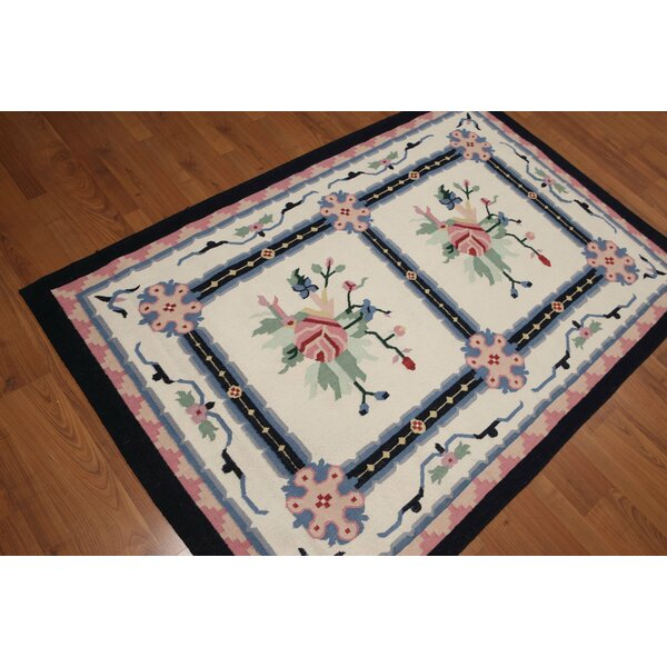 One-of-a-Kind Goel Dhurry Kilim Reversible Hand-Woven Ivory Area Rug by Astoria Grand