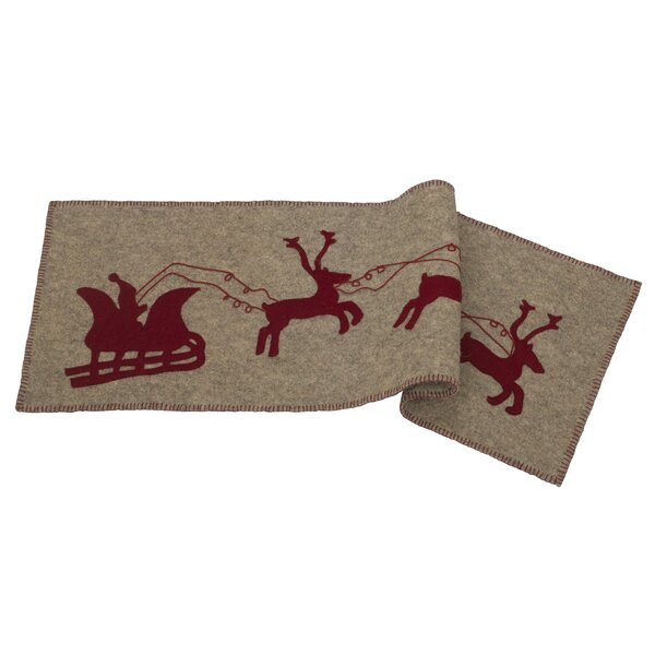 Delmonte Handmade Hand Felted Wool Table Runner with Reindeer and Sleigh by The Holiday Aisle