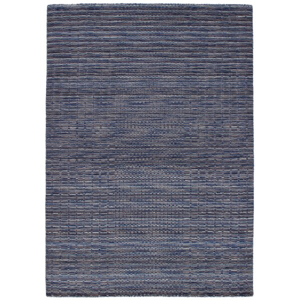 Eustis Hand-Knotted Wool Blue Area Rug by Breakwater Bay