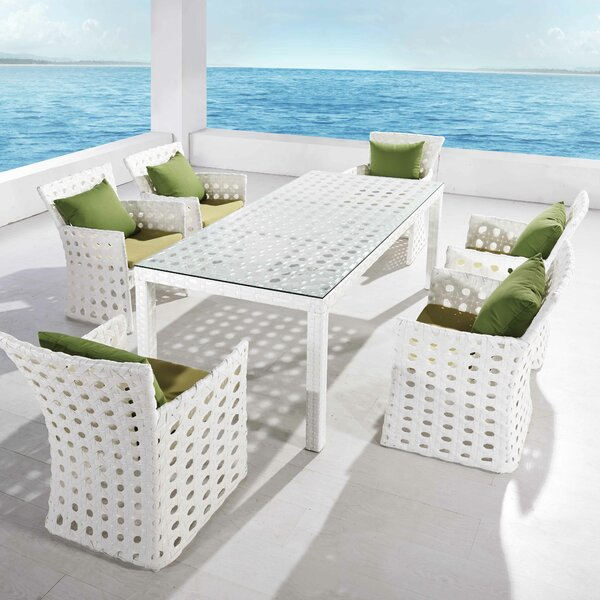Linsey 7 Piece Dining Set with Cushions by Rosecliff Heights