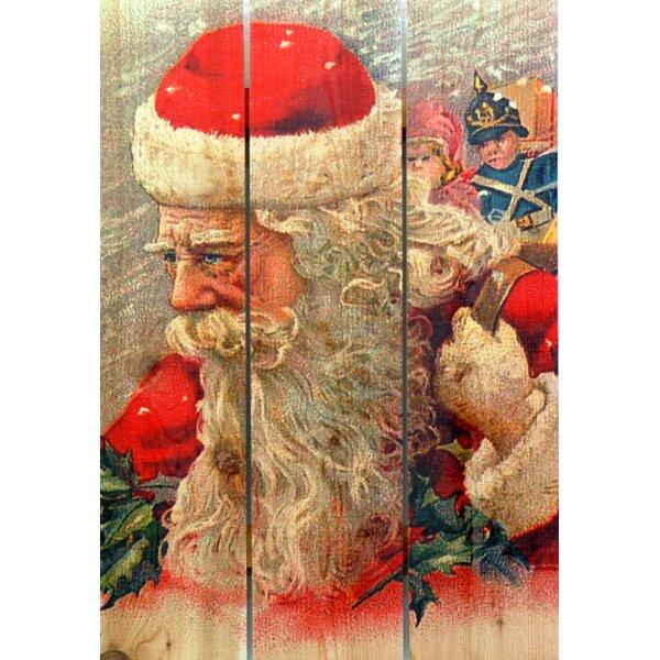 3 Piece Wind Santa Painting Print on Cedar by Gizaun Art