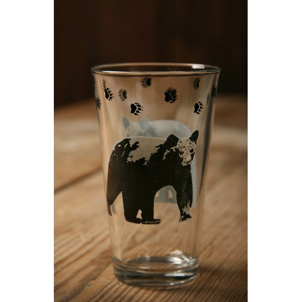 Brooks Lodge Pint with Bear 20 oz. Water/Juice Glass (Set of 4) by Loon Peak