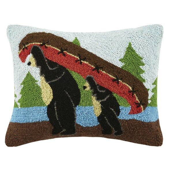 Bear Canoe Wool Lumbar Pillow by Peking Handicraft