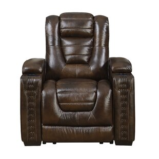 Barnhart Leather Power Recliner Red Barrel Studio