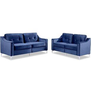 Khadeejah 2 Piece Velvet Configurable Living Room Set by Everly Quinn