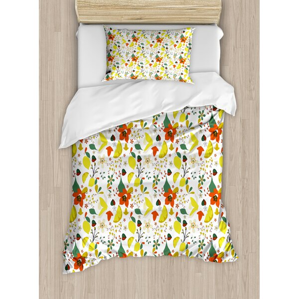 Floral Spring Flowers with Lemons Leaves Inspirational Artistic Illustration Duvet Set by Ambesonne
