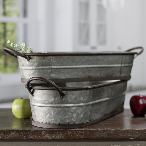 2-Piece Metal Pot Planter Set by American Mercantile