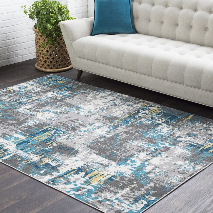 Azurine Distressed Abstract Teal/Grey Area Rug