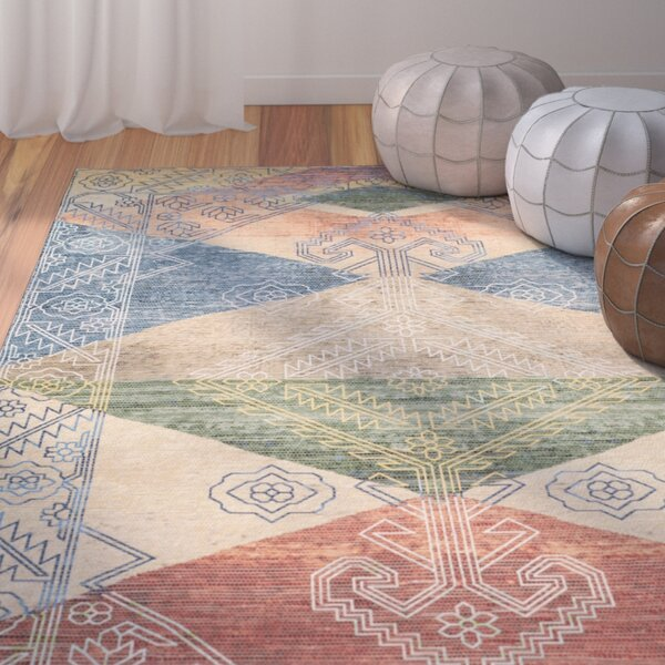 Amanda Hand-Loomed Red/Blue/Beige Area Rug by Bungalow Rose
