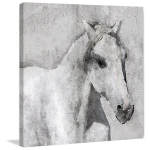 'Gray Elegant Horse' Print on Canvas by Marmont Hill