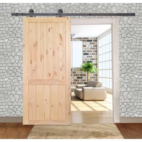 Solid Wood Panelled Slab Interior Barn Door by Calhome