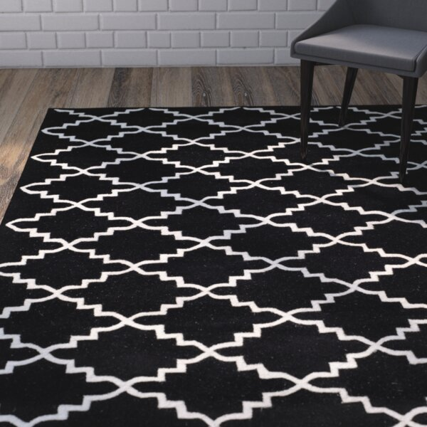 Wilkin Hand-Tufted Wool Black/Ivory Area Rug by Wrought Studio