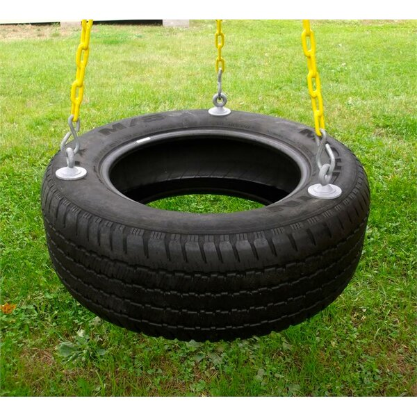 3 Chain Rubber Tire Swing with Chains and Hooks by Eastern Jungle Gym