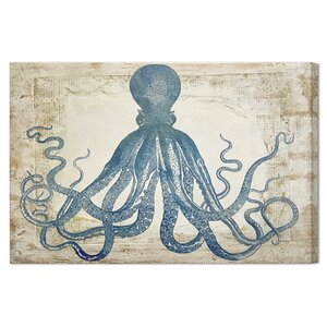 Blue SquidGraphic Art on Canvas by Mercury Row