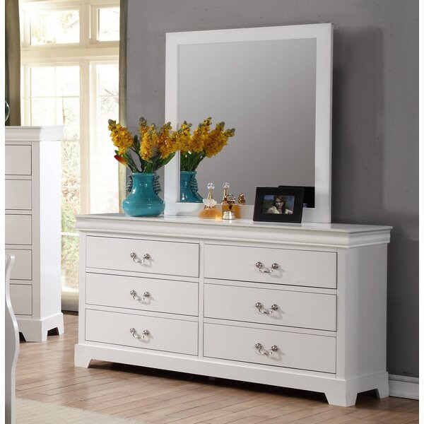 Priscilla 6 Drawer Double Dresser with Mirror by Alcott Hill