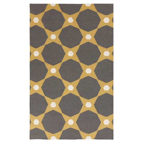 Donley Kelp Brown/Pewter Geometric Area Rug by Wrought Studio