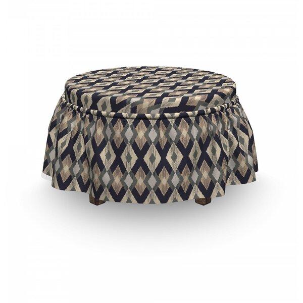 Boho Ikat 2 Piece Box Cushion Ottoman Slipcover Set By East Urban Home